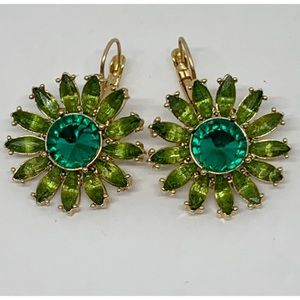 Kate Spade Green Rhinestone Flower Earrings